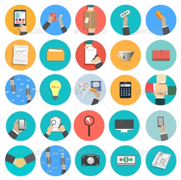 GraphicRiver Set of Office and Business Icons 7830060