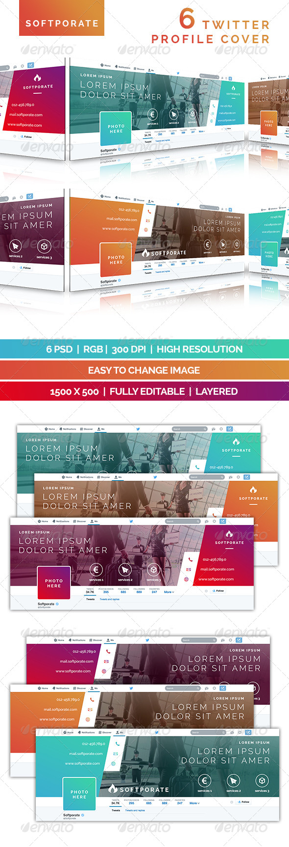 GraphicRiver Softporate Twitter Profile Cover 7817022