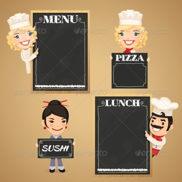 GraphicRiver Chefs Cartoon Characters with Chalkboard Menu 7834814