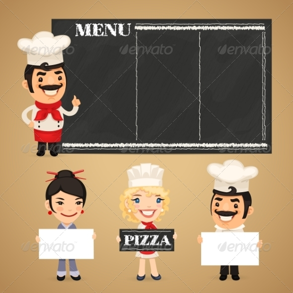 GraphicRiver Chefs Presenting Empty Banners 7834983