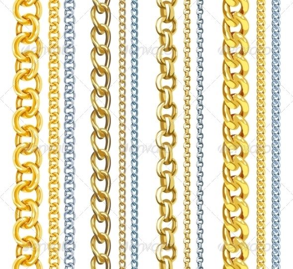 GraphicRiver Set of Realistic Gold and Silver Chains 7837108
