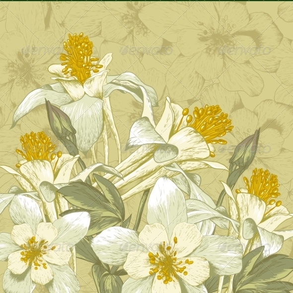 GraphicRiver Beautiful Background with White Flowers 7837160