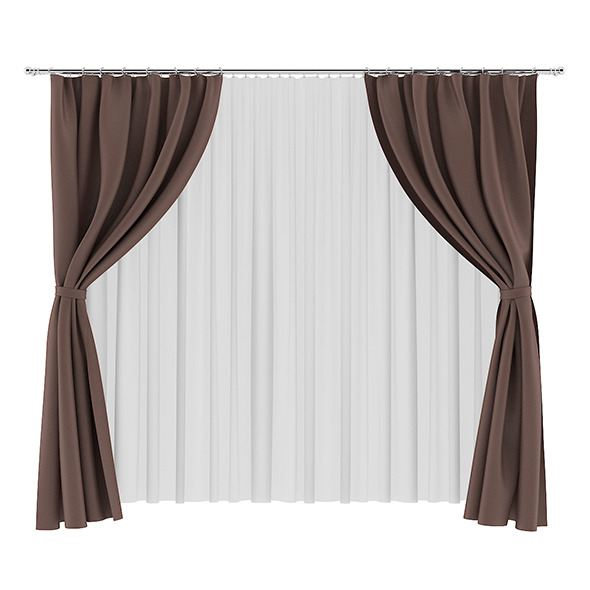 3DOcean Brown and White Curtains 7839464