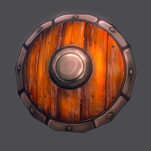 3DOcean Low poly shield hand painted 7843130