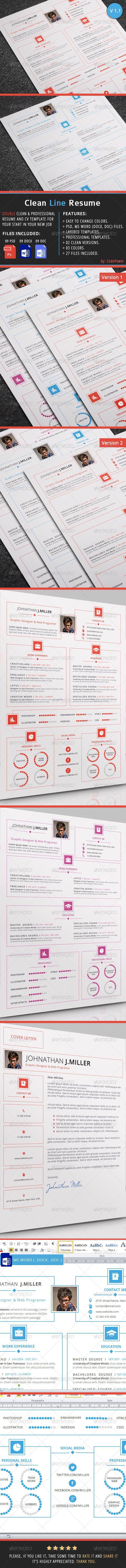 GraphicRiver Clean Line Resume 7825010