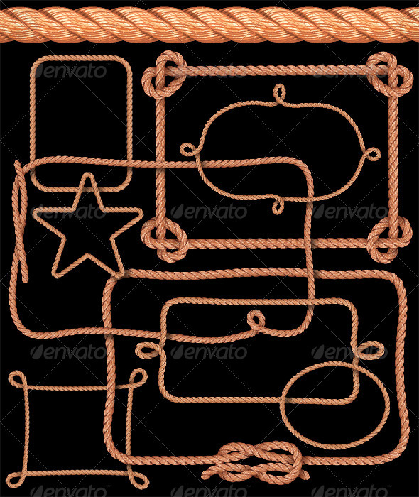 GraphicRiver Rope Pattern Brush and Ready-Made Rope Elements 806990