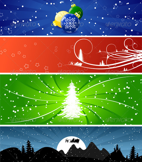 Graphic River Winter Christmas banners Vectors -  Decorative  Backgrounds 807962