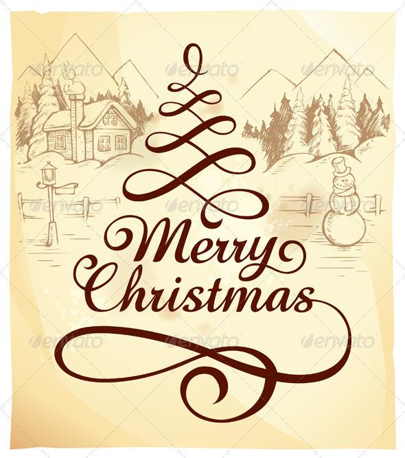 Graphic River Calligraphic Christmas Lettering Vectors -  Conceptual  Seasons/Holidays  Christmas 808289