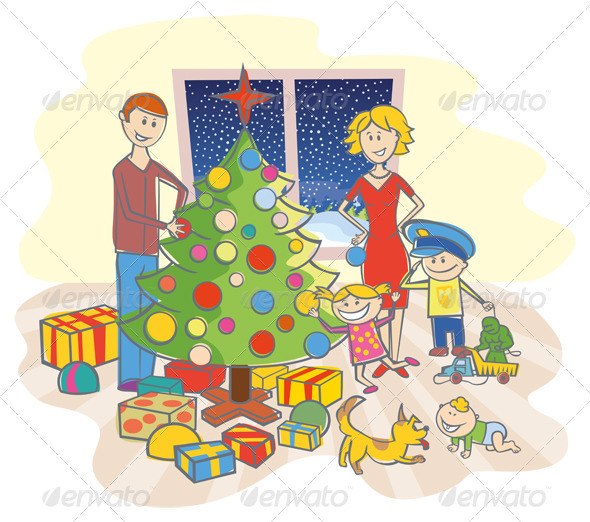 Graphic River Happy Family Dressing Up The Christmas Tree Vectors -  Characters 808606
