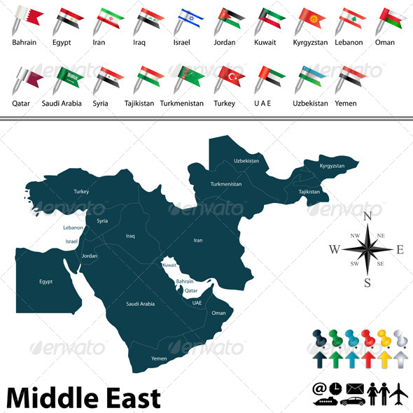 GraphicRiver Political Map of Middle East 7962556