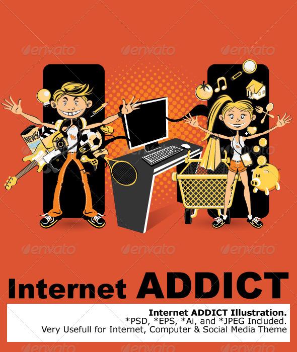 Graphic River Internet Addict Vectors -  Conceptual  Technology  Web 814005