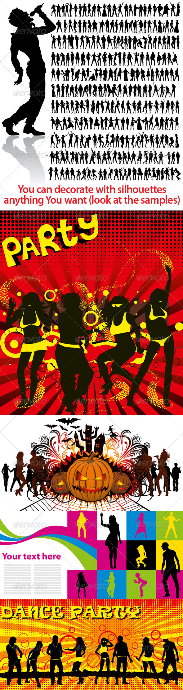 GraphicRiver Dancing and Singing People s Silhouettes Big Set 815689