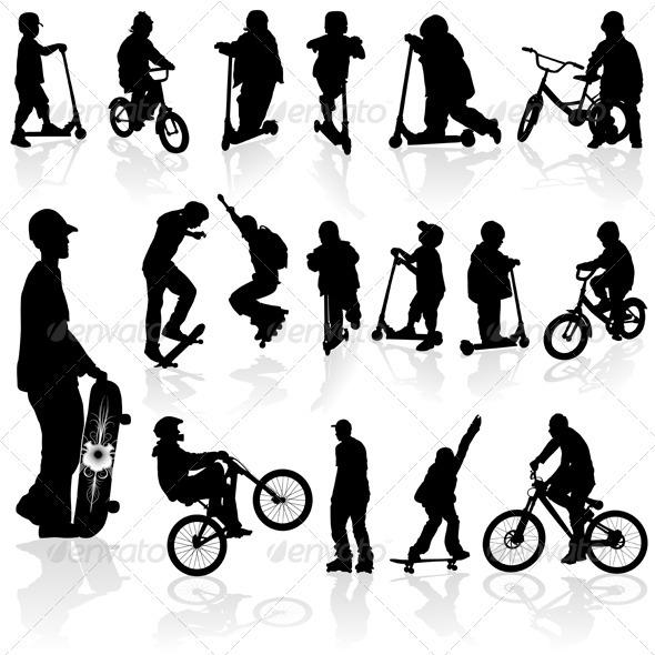 Graphic River Silhouettes children and man Vectors -  Conceptual  Sports/Activity 816160