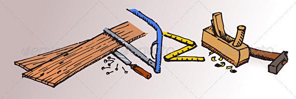 Graphic River Carpenter Tools and Wood Vectors -  Conceptual  Business  Industries 816544