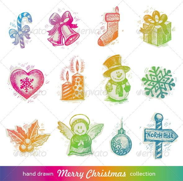 Graphic River Vector Set of Hand Drawn Christmas Symbols Vectors -  Conceptual  Seasons/Holidays  Christmas 818736