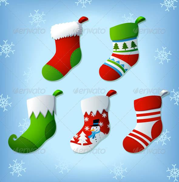 Graphic River Christmas Socks Vector Clip Arts Vectors -  Conceptual  Seasons/Holidays  Christmas 818837