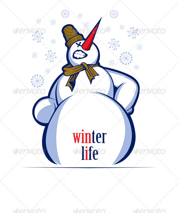 Graphic River Cartoon Snow Man Smile  Vectors -  Characters  Monsters 819072
