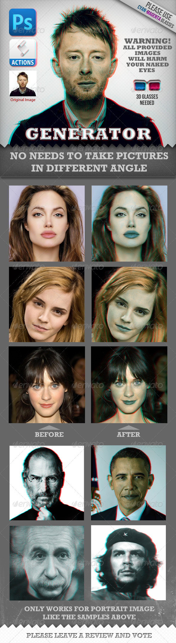 GraphicRiver Anaglyph 3D Face Generator Real Works 820421