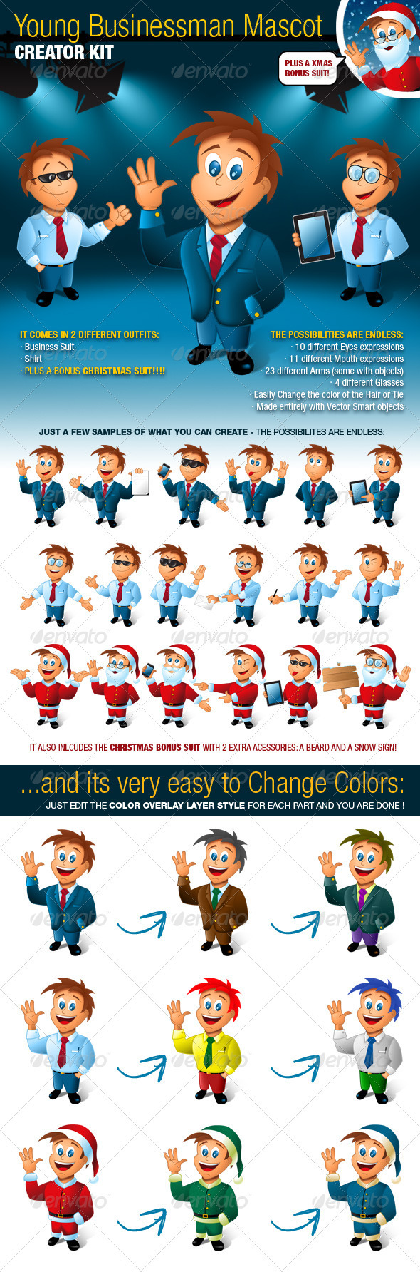 GraphicRiver Young Business Man Mascot Creator Kit 807717