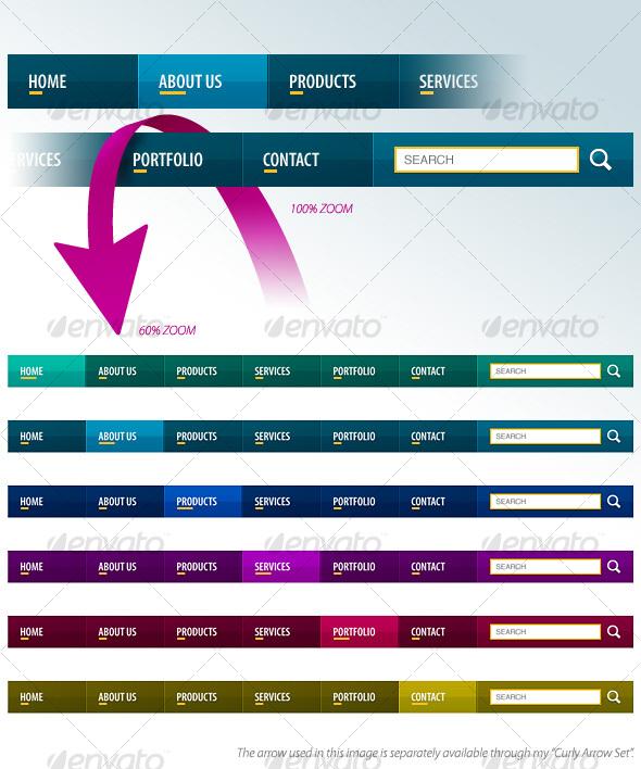 GraphicRiver Slick Navigation Bars 33901