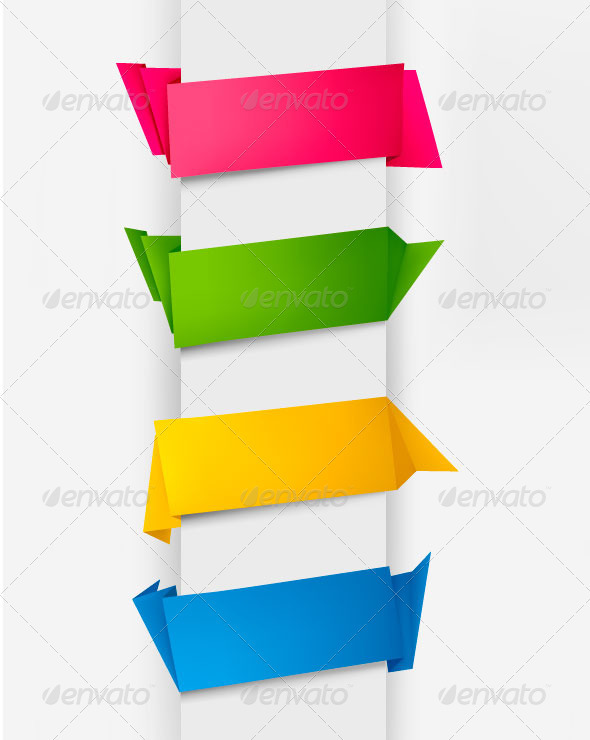 Graphic River Set of Colorful Origami Paper Banners. Vectors -  Conceptual  Business 838993