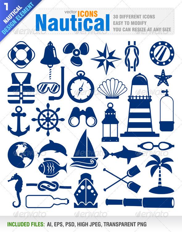 Graphic River Nautical Icons Vectors -  Decorative 839299