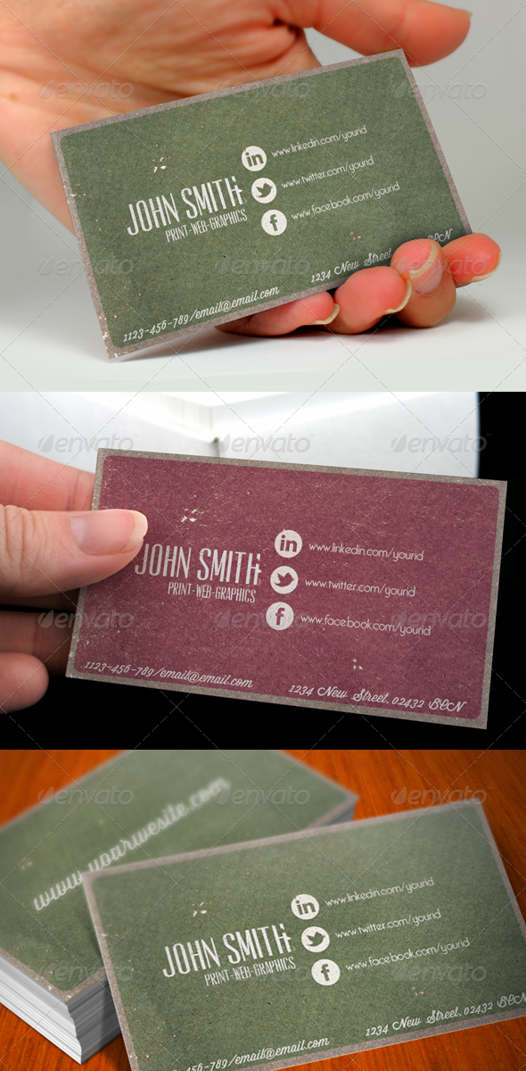 GraphicRiver Social Media Vintage Business Card 821701