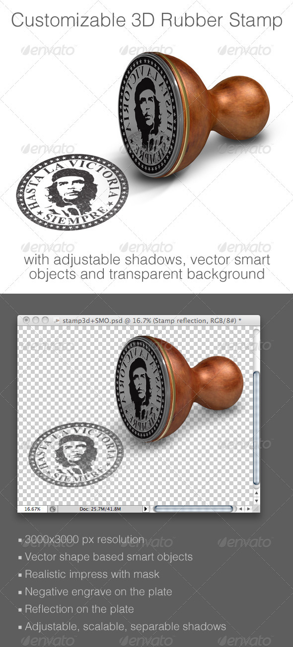 GraphicRiver Customizable 3D Rubber Stamp Mock-up 840645