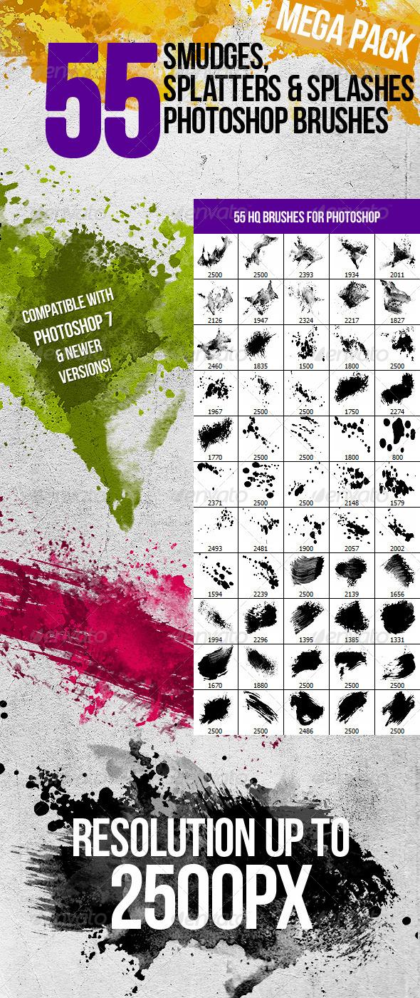 GraphicRiver 55 Splatters Smudges & Splashes Photoshop Brushes 842800