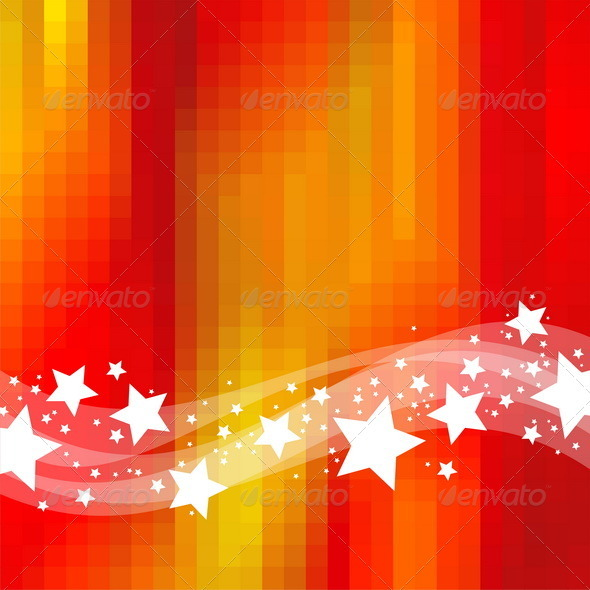 Graphic River Abstract Red Background With Waves and Stars Vectors -  Decorative  Backgrounds 848285